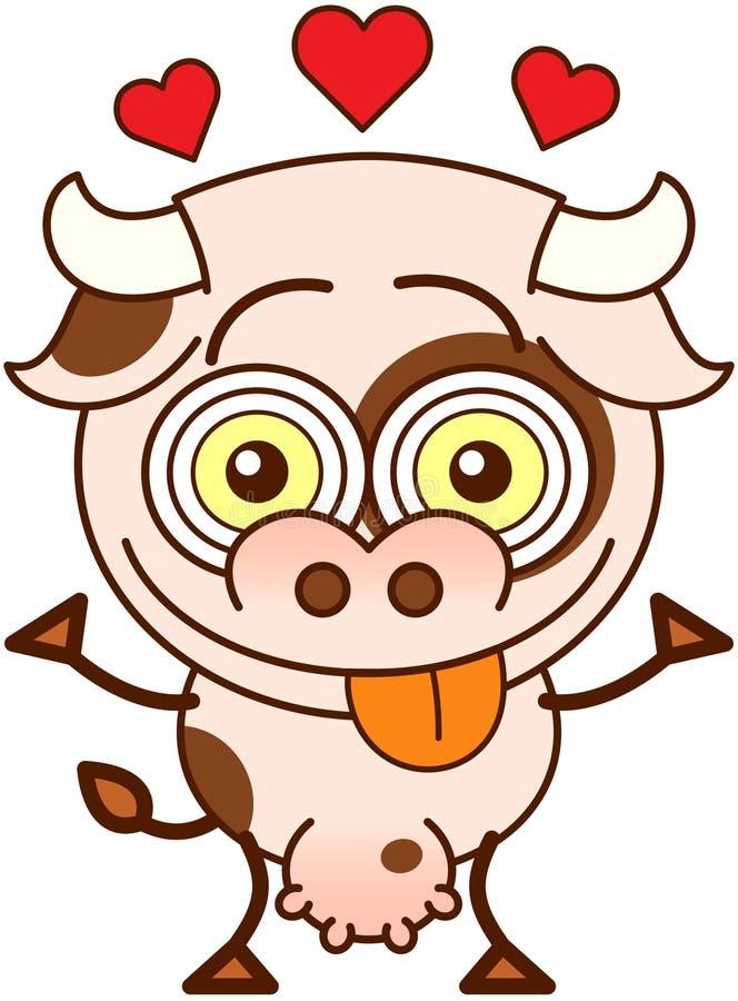 Милая корова чувствуя сумашедше в влюбленности бесплатная иллюстрация