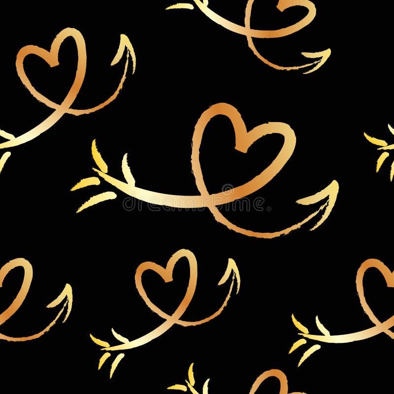 Милая красивая безшовная картина с нарисованными рукой сердцами и стрелками эскиза Предпосылка, ткань, текстура, ткань иллюстрация штока
