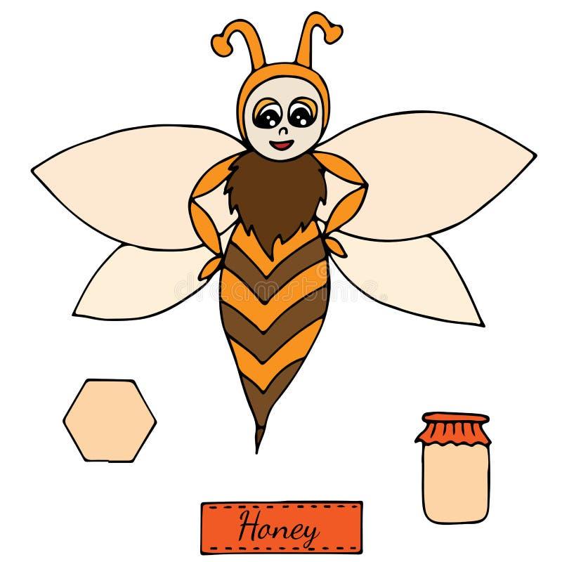 Милая красочная пчела изолированная на белой предпосылке бесплатная иллюстрация