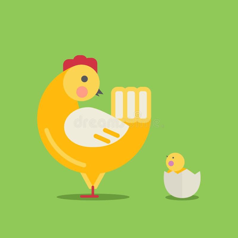 Милая курица и цыпленок шаржа иллюстрация вектора