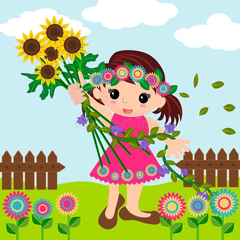 Милая маленькая девочка в временени иллюстрация вектора