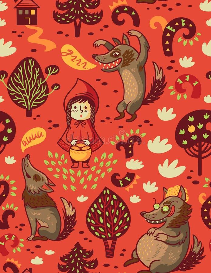 Милая маленькая девочка и серый голодный волк vector безшовная предпосылка иллюстрация штока