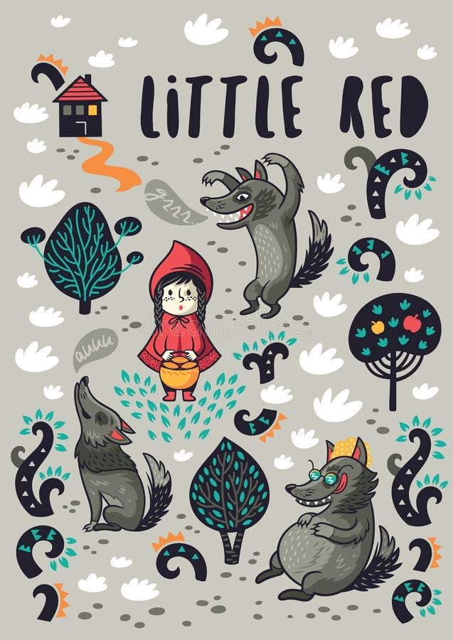 Милая маленькая девочка и серый голодный шарж волка печатают бесплатная иллюстрация