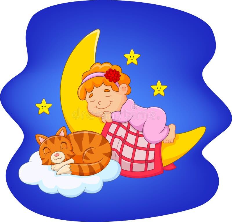 Милая маленькая девочка при кот спать на луне иллюстрация штока