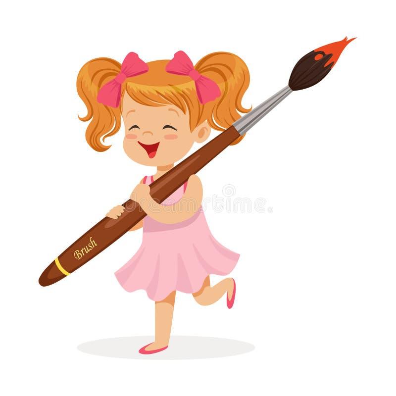 Милая маленькая девочка redhead в розовом платье держа гигантскую иллюстрацию вектора шаржа paintbrush иллюстрация штока