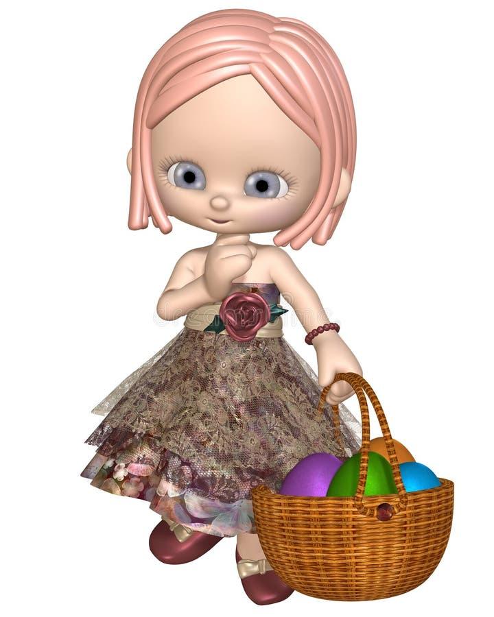 Милая девушка Toon пасхи бесплатная иллюстрация