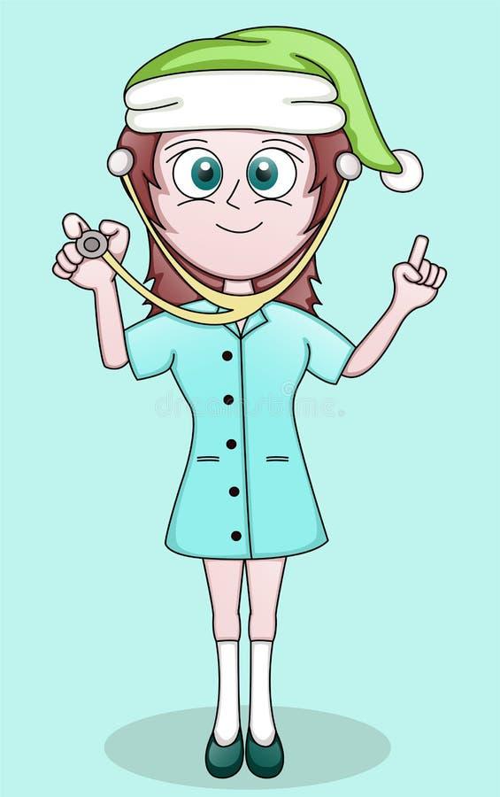 Милая маленькая медсестра с шляпой Санты иллюстрация вектора