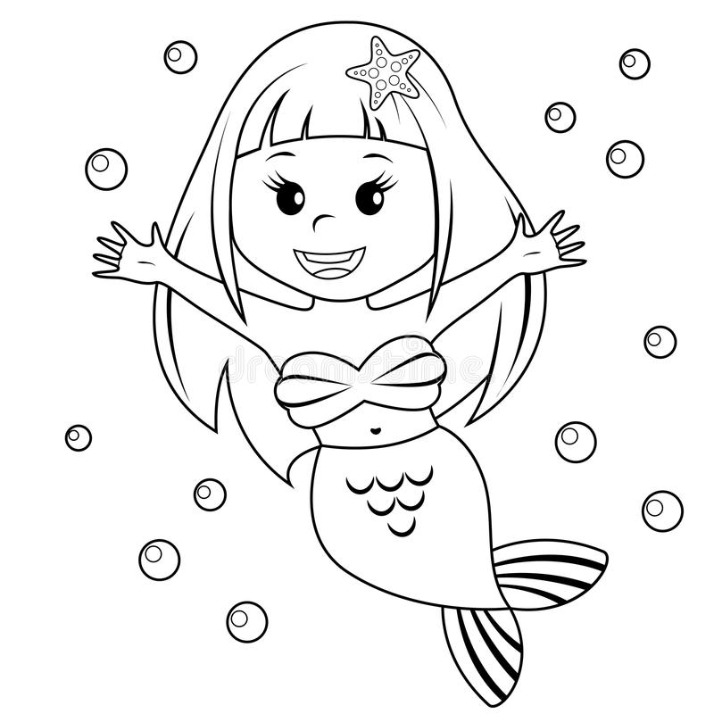 Милая маленькая русалка Черно-белая иллюстрация вектора для книжка-раскраски иллюстрация вектора
