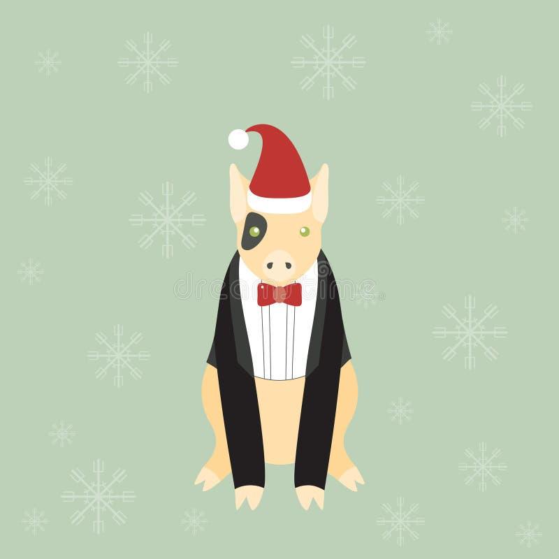 Милая маленькая свинья с красной шляпой Санты иллюстрация штока