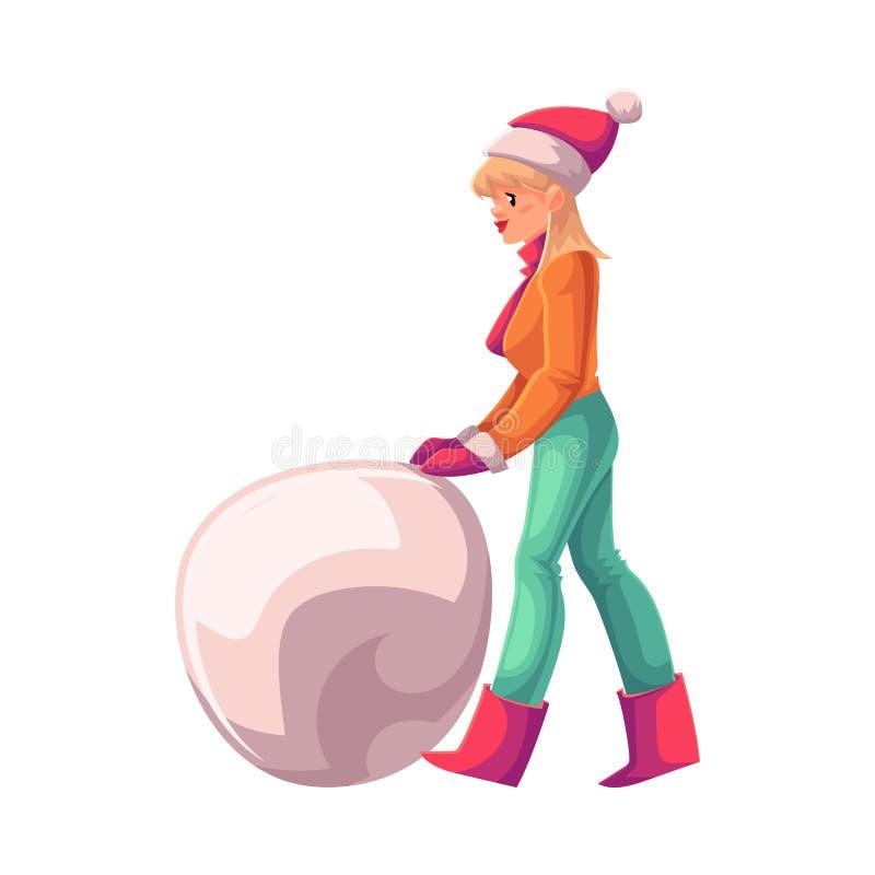 Милая молодая женщина делая снеговик иллюстрация штока