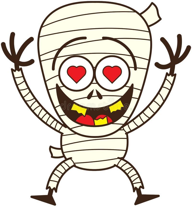 Милая мумия хеллоуина в влюбленности иллюстрация штока