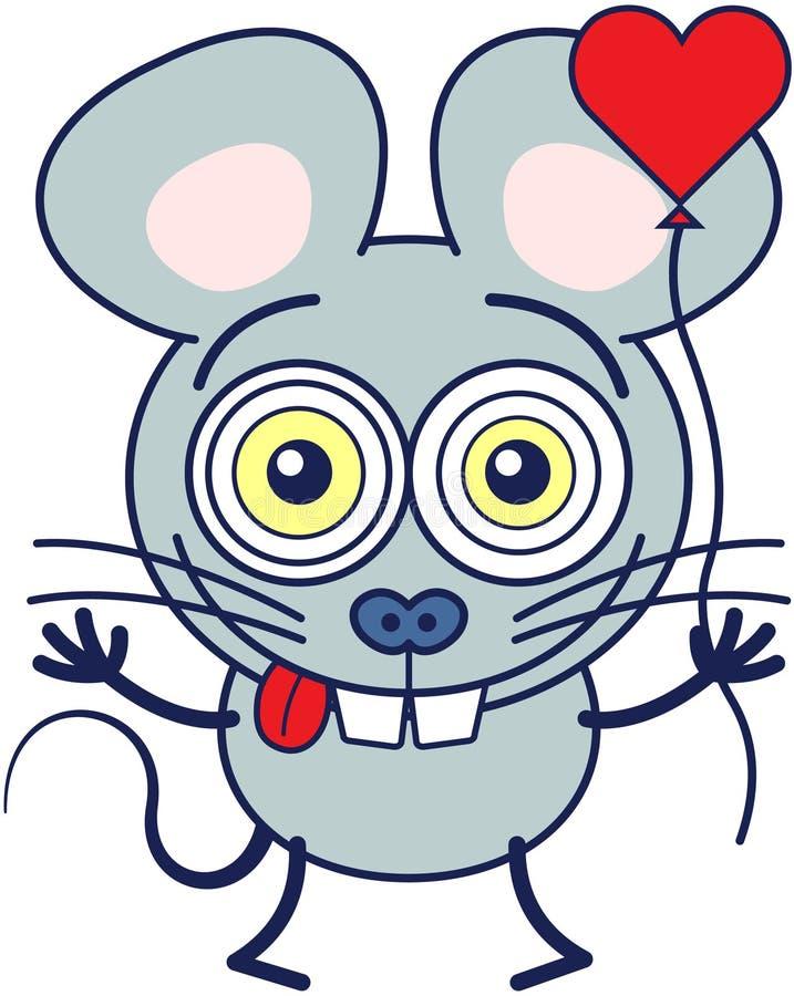Милая мышь чувствуя сумашедше в влюбленности бесплатная иллюстрация
