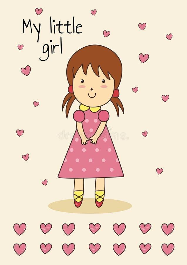 Милая нарисованная вручную карточка для дня рождения или детского душа с маленькой девочкой иллюстрация вектора