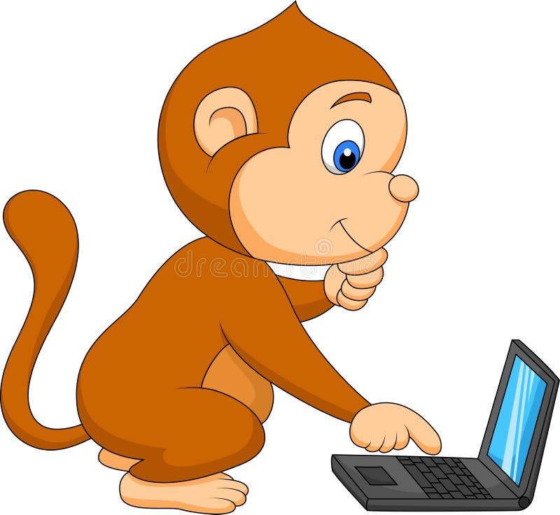 Милая обезьяна играя компьютер бесплатная иллюстрация