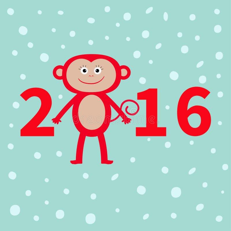 Милая обезьяна на предпосылке снега Новый Год 2016 Иллюстрация младенца Дизайн поздравительной открытки плоский иллюстрация вектора