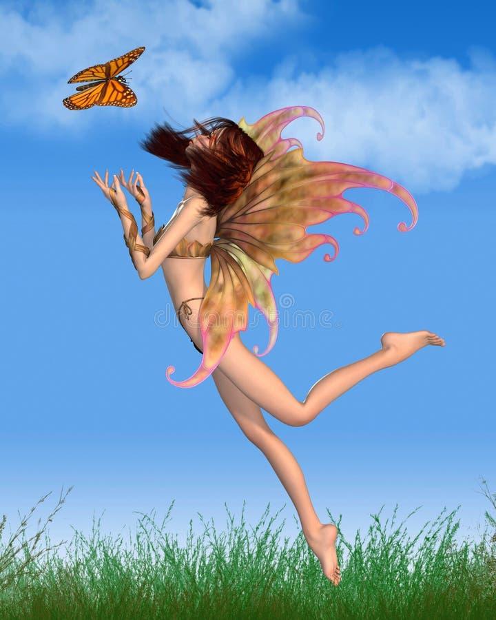 Милая оранжевая фе в солнечности бесплатная иллюстрация