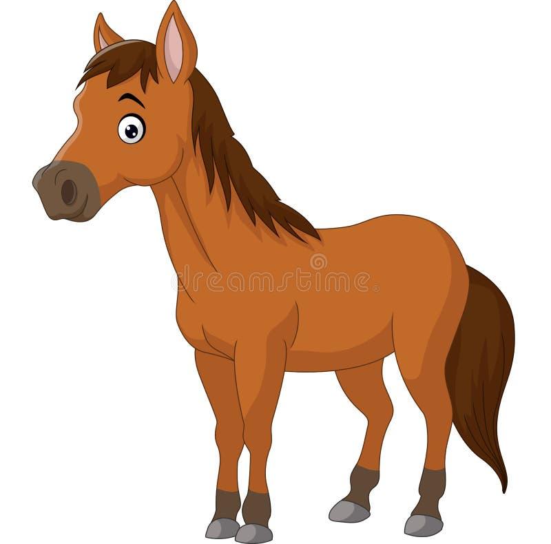 Милая лошадь коричневого цвета шаржа иллюстрация штока