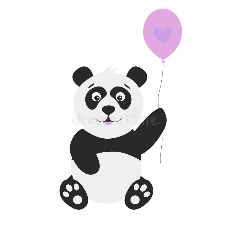Милая панда шаржа с воздушным шаром на белой предпосылке бесплатная иллюстрация