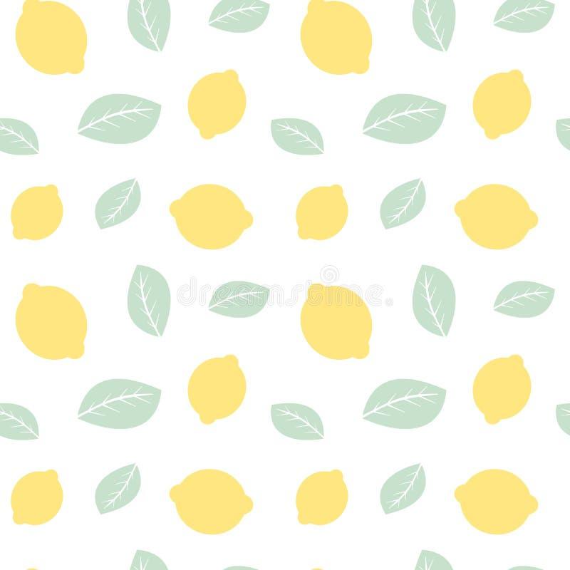 Милая пастельная иллюстрация предпосылки картины лимонов и листьев безшовная бесплатная иллюстрация