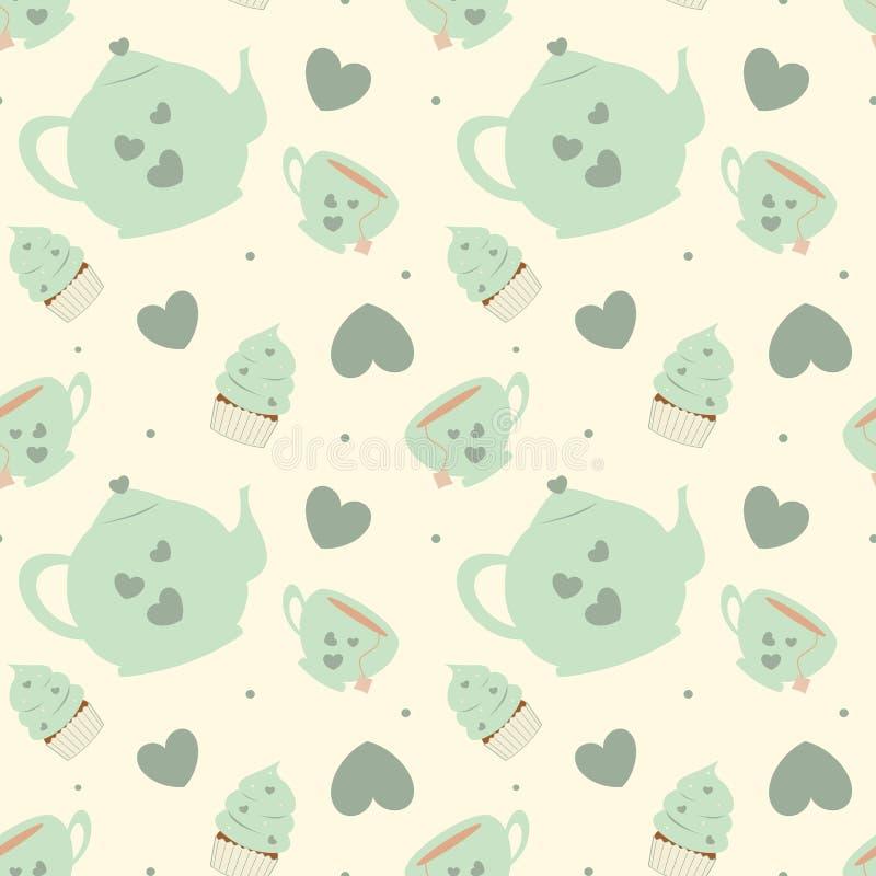 Милая пастельная иллюстрация предпосылки картины комплекта чая шаржа безшовная с пирожными иллюстрация штока