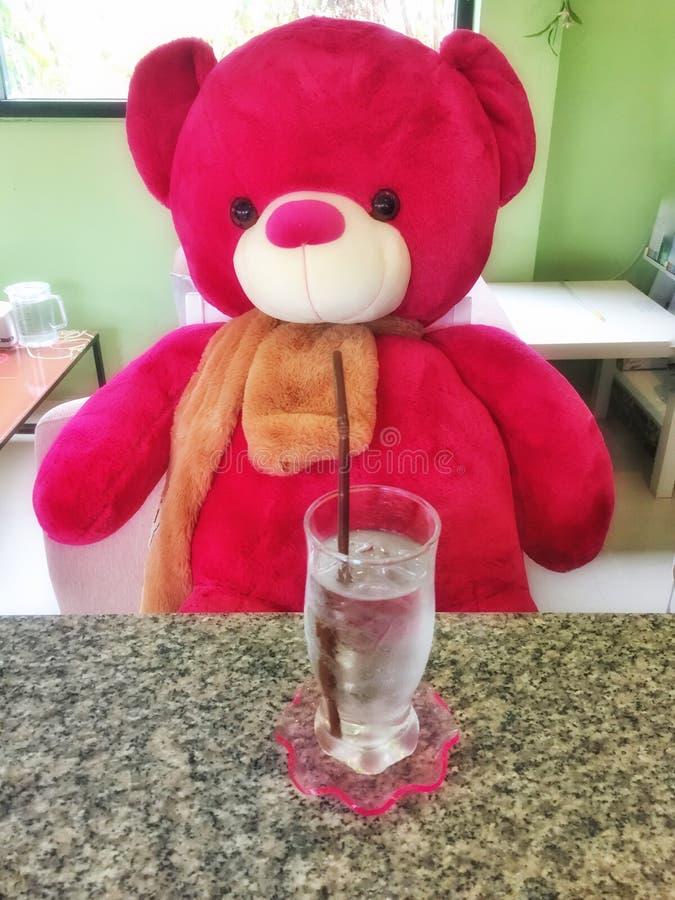 Милая питьевая вода плюшевого медвежонка стоковая фотография