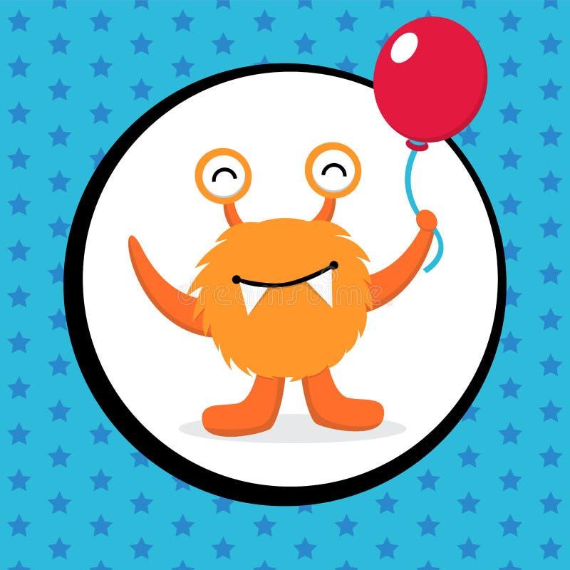Милая поздравительая открытка ко дню рождения изверга иллюстрация вектора