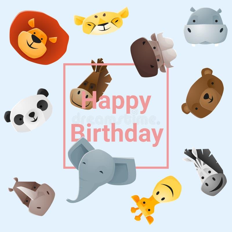 Милая поздравительая открытка ко дню рождения с днем рождений с смешными животными бесплатная иллюстрация