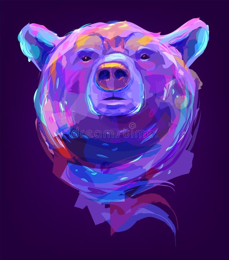 Милая покрашенная голова медведя иллюстрация штока