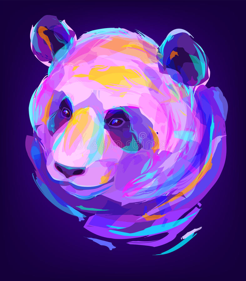 Милая покрашенная голова панды иллюстрация штока