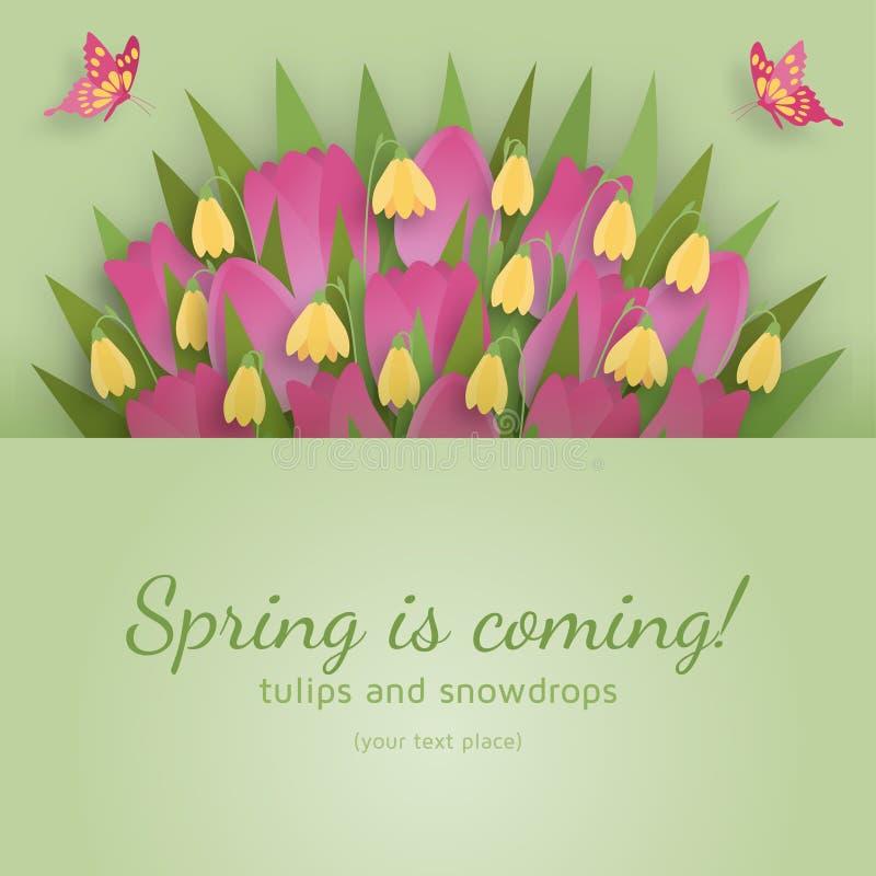 Милая предпосылка весны в бумажном стиле искусства также вектор иллюстрации притяжки corel иллюстрация штока
