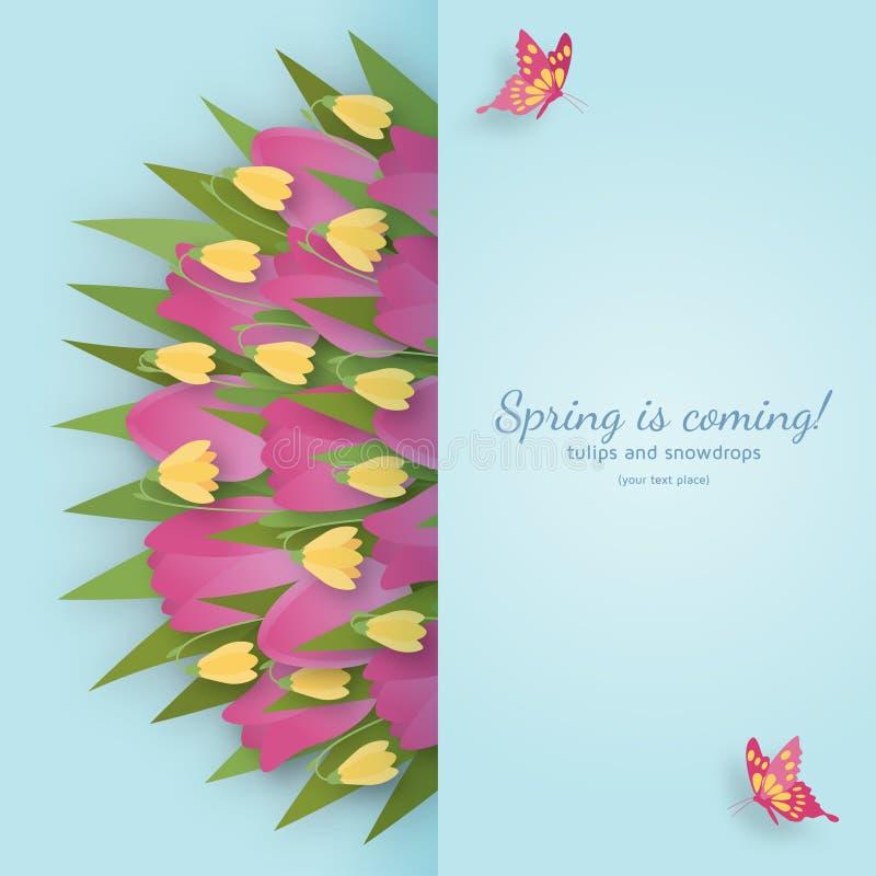 Милая предпосылка весны в бумажном стиле искусства также вектор иллюстрации притяжки corel иллюстрация вектора