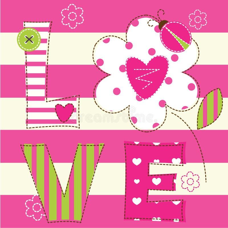 Милая предпосылка младенца с письмами и ladybug иллюстрация штока