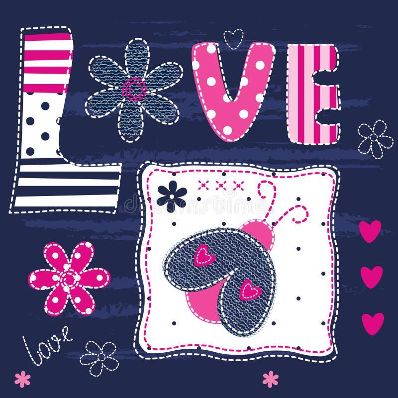 Милая предпосылка младенца с письмами и ladybug иллюстрация вектора