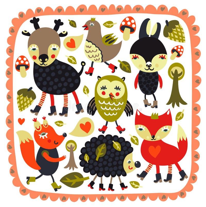 Милая предпосылка с животными и птицами полесья бесплатная иллюстрация