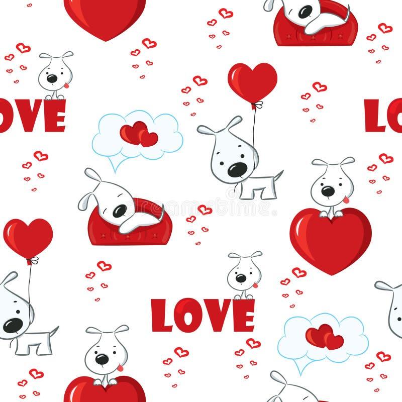 Милая предпосылка с собаками и сердцами на день валентинки, безшовная картина иллюстрация вектора