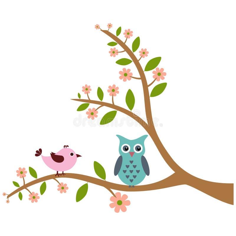 Милая птица и сыч с картиной дерева стоковое изображение rf
