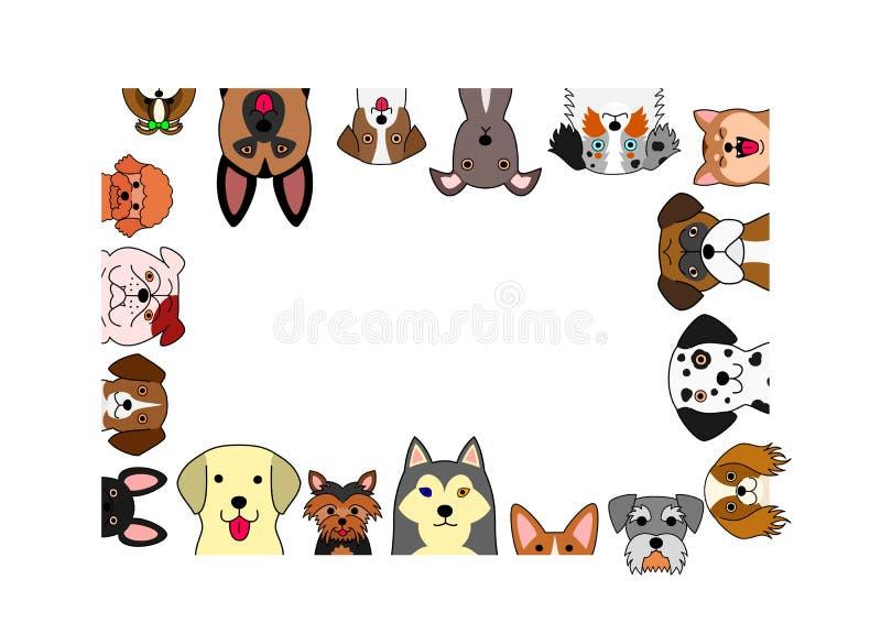 Милая рамка прямоугольника собак иллюстрация вектора