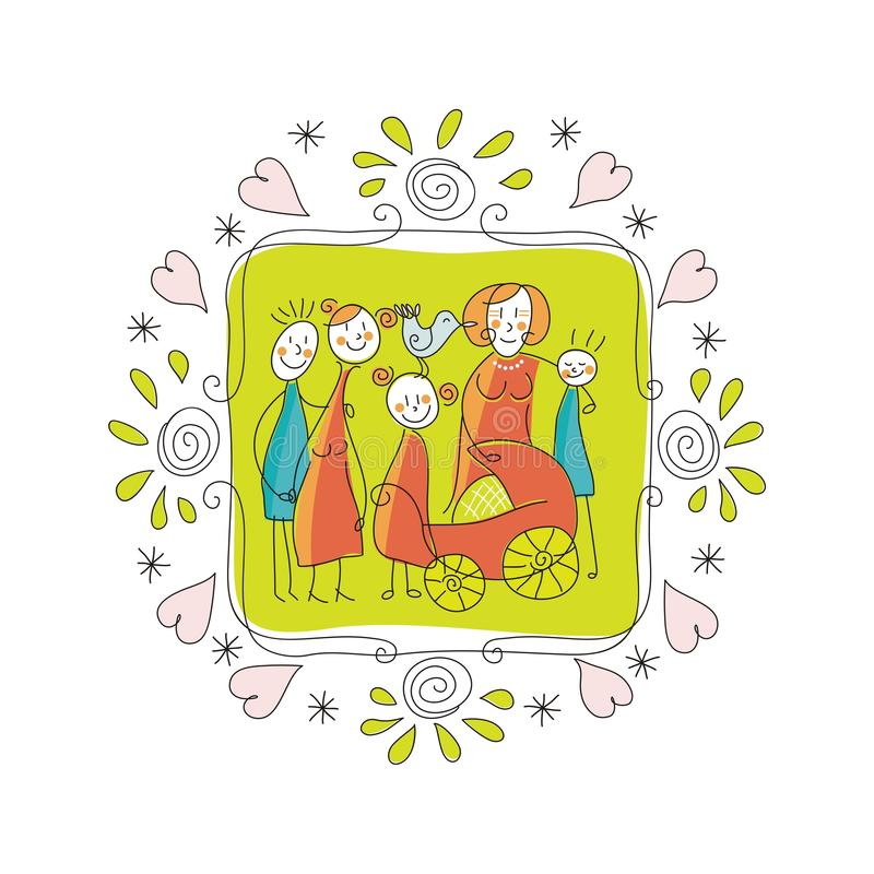 Милая рамка семьи бесплатная иллюстрация
