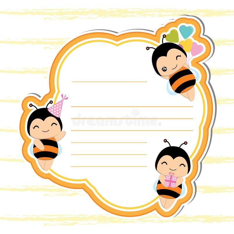 Милая рамка с милыми пчелами на оранжевой рамке соответствующей для открытки дня рождения иллюстрация вектора