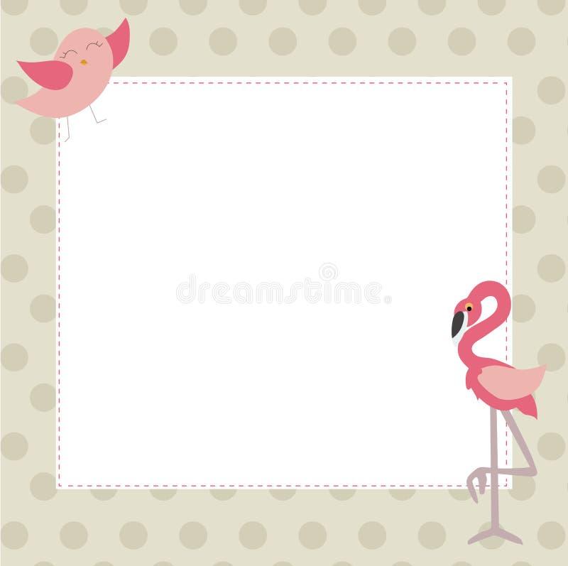 Милая рамка фото младенца с птицей и розовыми фламинго Шаблон для иллюстрация штока