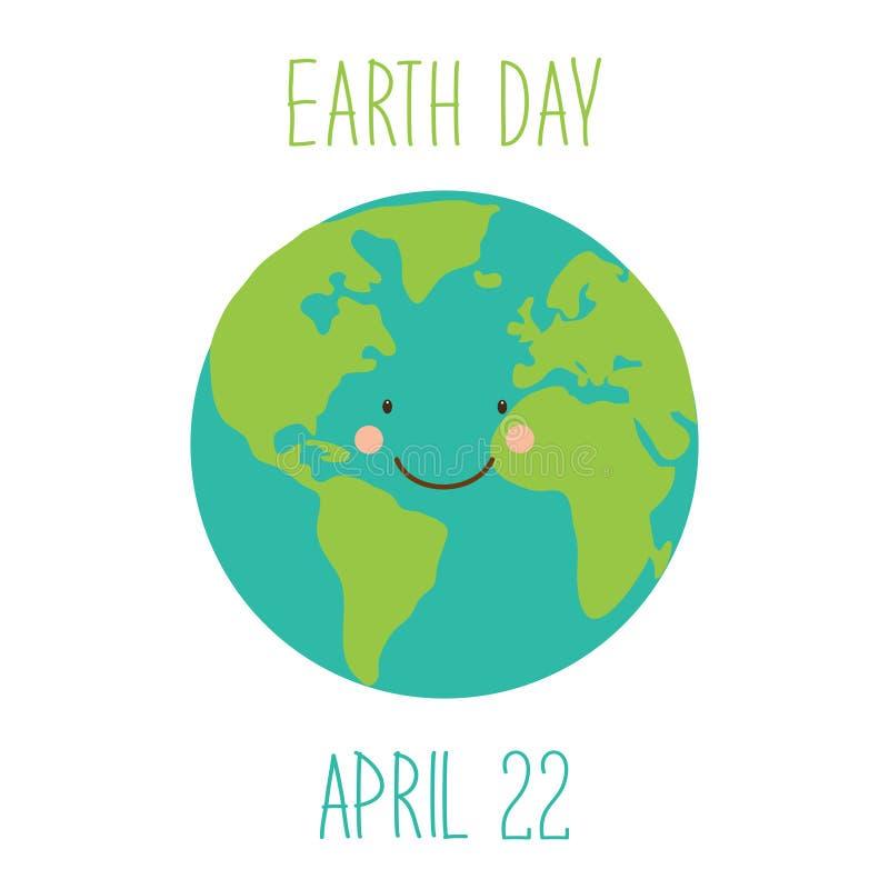 Милая ребяческая предпосылка дня земли с смешным усмехаясь персонажем из мультфильма земли планеты бесплатная иллюстрация