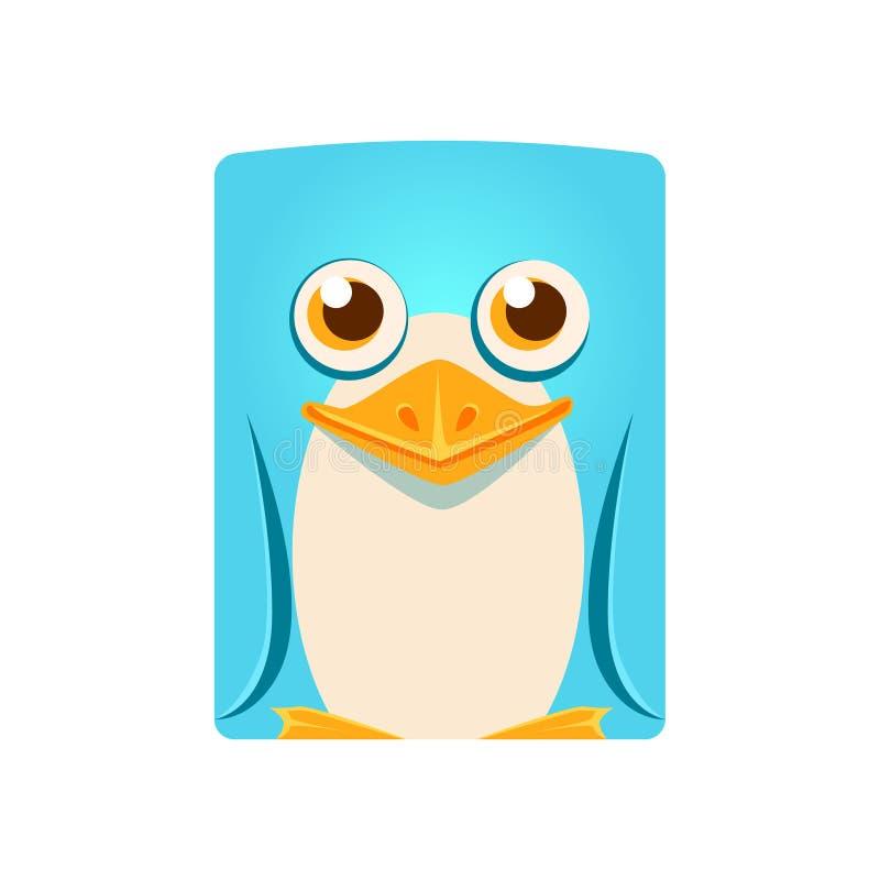 Милая дружелюбная геометрическая птица пингвина, красочная иллюстрация вектора персонажа из мультфильма иллюстрация вектора