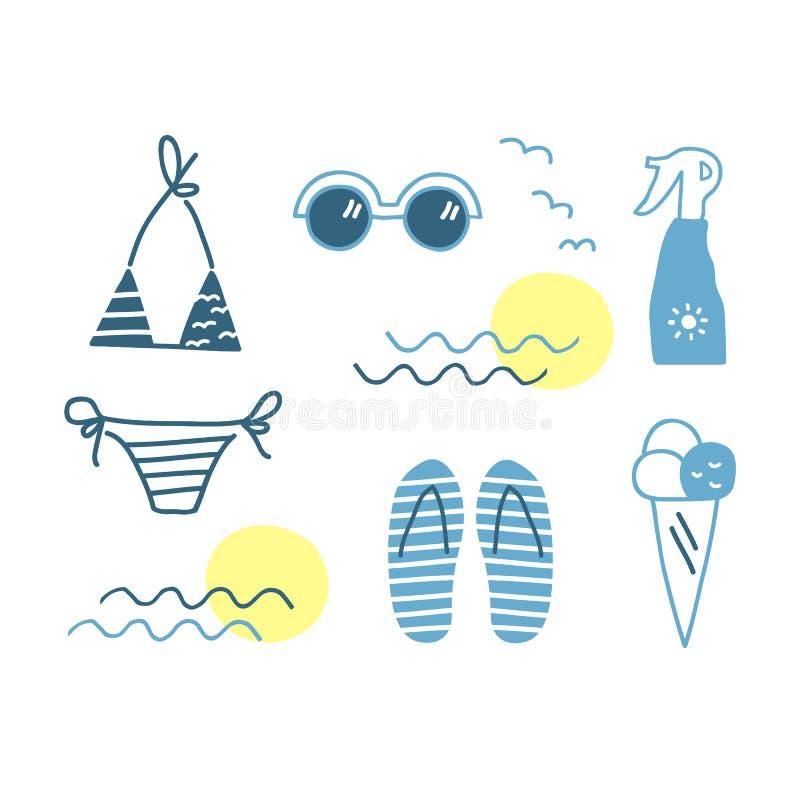 Милая рука нарисованная лето striped комплект элементов иллюстрация штока