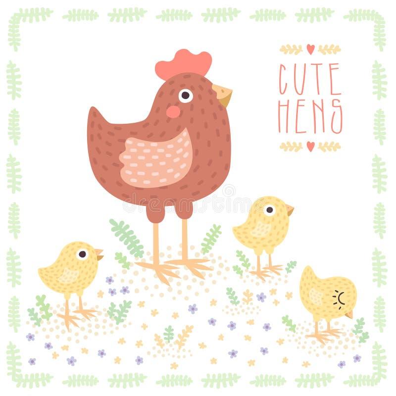 Милая русая курица с цыплятами младенца vector предпосылка бесплатная иллюстрация