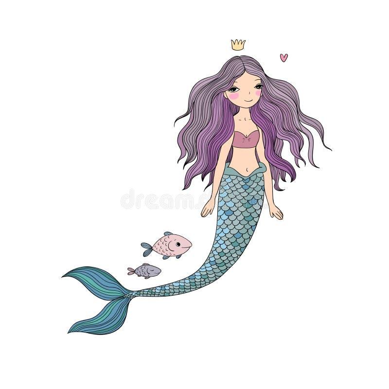 Милая русалка и рыбы шаржа сирена абстрактная тема моря предпосылки абстракции Изолированные предметы на белой предпосылке иллюстрация вектора