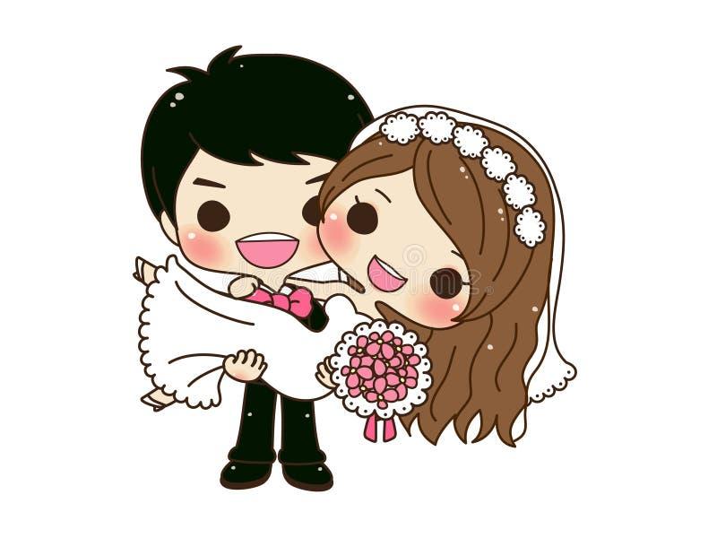 Милая свадьба пар бесплатная иллюстрация