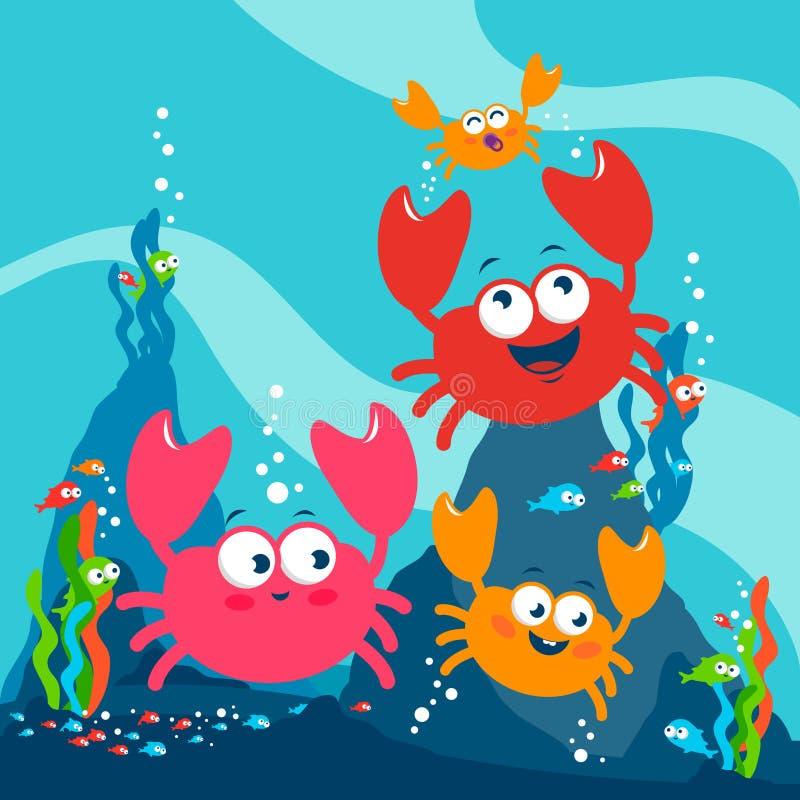 Милая семья краба подводная бесплатная иллюстрация