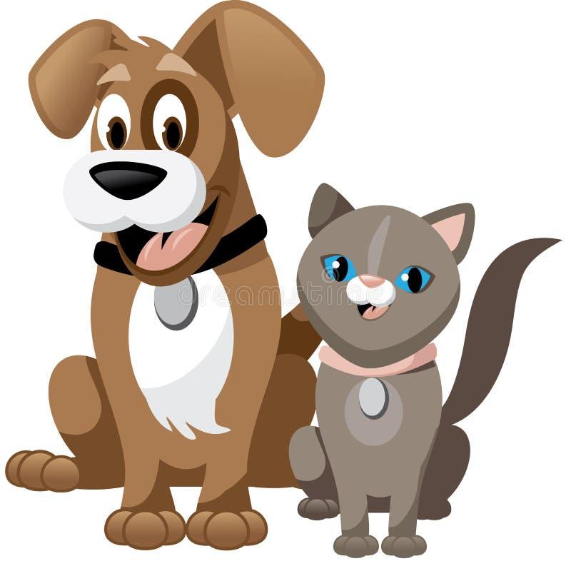 Милая собака и кошка шаржа изолированная на белизне иллюстрация штока