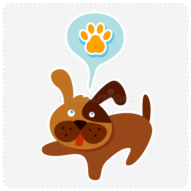 Милая собака шаржа с значком лапки - vector illustrati иллюстрация вектора
