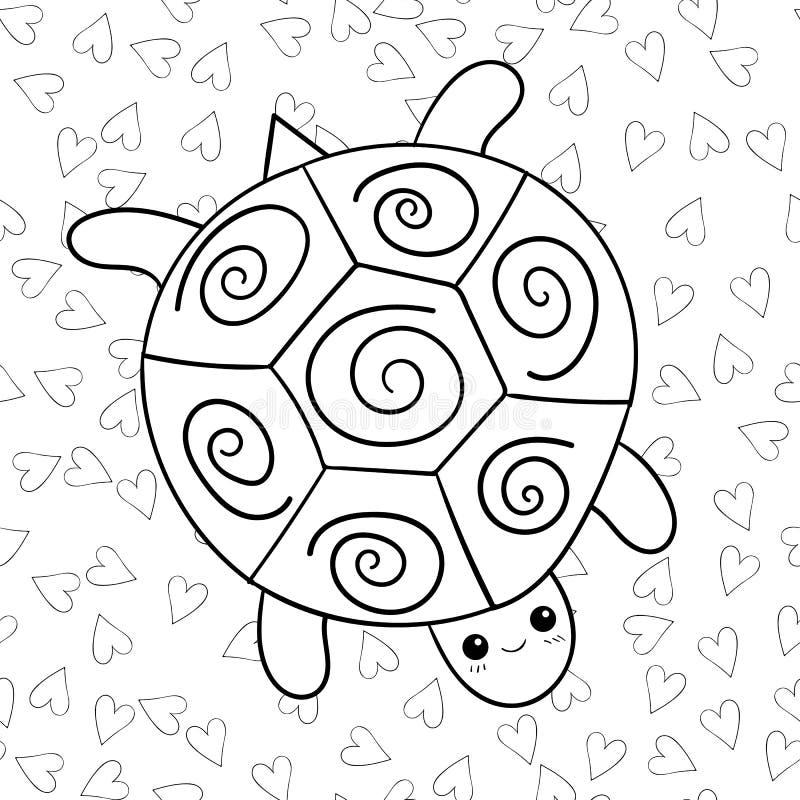 Милая страница книжка-раскраски черепахи иллюстрация вектора
